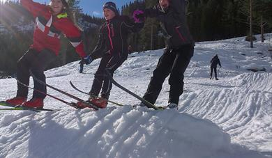 Happy girls on skis